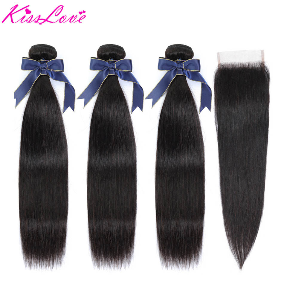 Kiss Love Straight Bundles With Closure Human Hair Brazilian Hair Weave 3 Bundles With Lace Closure 4 Pcs/Lot Middle Ratio Remy