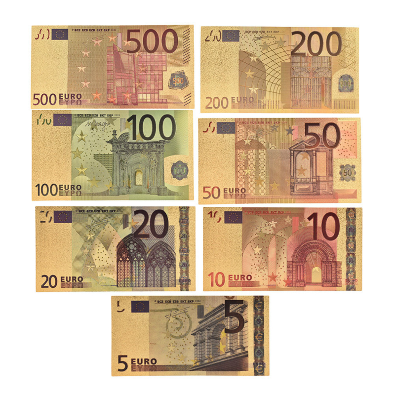 Notas de papel falsas de ouro eur em ouro 24 k, 7, pçs/lote, 5, 10, 50, 100, 200 e 500 conjunto de notas euro coleção