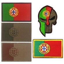 Португалия португальский Национальный флаг вышивка патч, вышитые патчи Военная Тактическая повязка на руку Наплечная Марка Вышивка для одежды