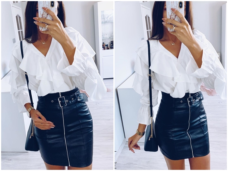 Affogatoo High waist pu leather skirts women Sash zipper pencil mini skirt 18 Autumn streetwear winter black skirts short 5