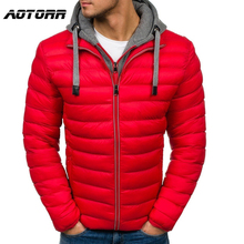 Men Parka Cotton Padded Winter Jacket Coat Mens Warm Jackets Male Zipper Thick Coats Down Parkas Fake 2 pieces Hoody Windbreaker