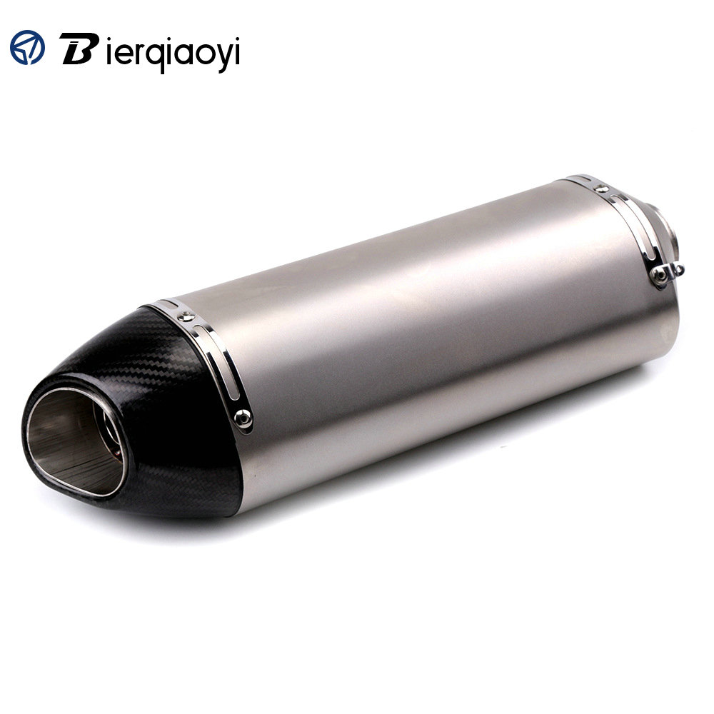 Stainless Steel 51mm Muffler Exhaust Motorcycle Universal Pipe Scooter Carbon Fiber