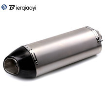 цены Stainless Steel 51mm Muffler Exhaust Motorcycle Universal Muffler Pipe Scooter Motorcycle Exhaust Pipe Carbon Fiber Muffler