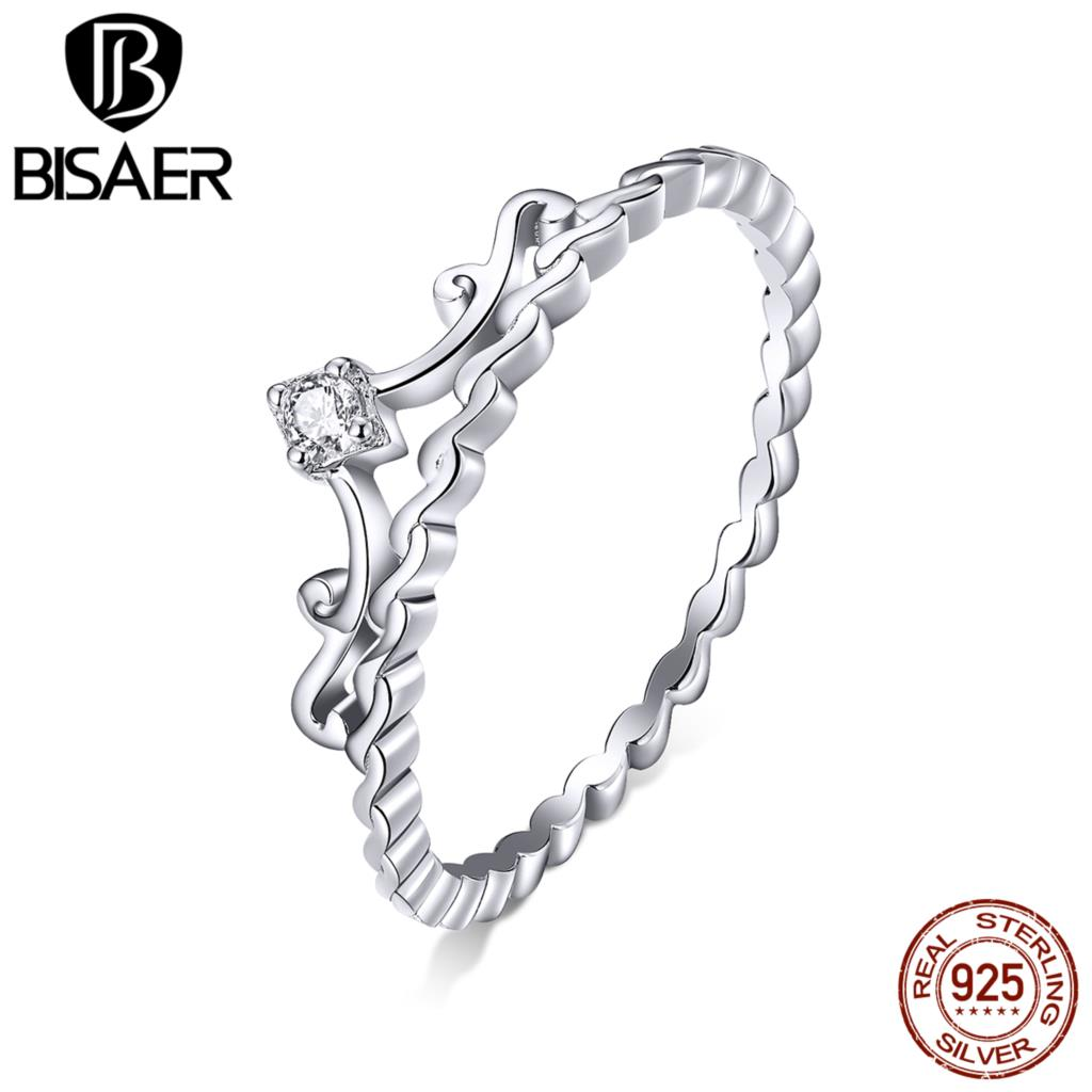 Crown Rings BISAER Hot Sale 925 Sterling Silver Princess Crown Filigree Women Finger Rings Sterling Silver Jewelry EFR099