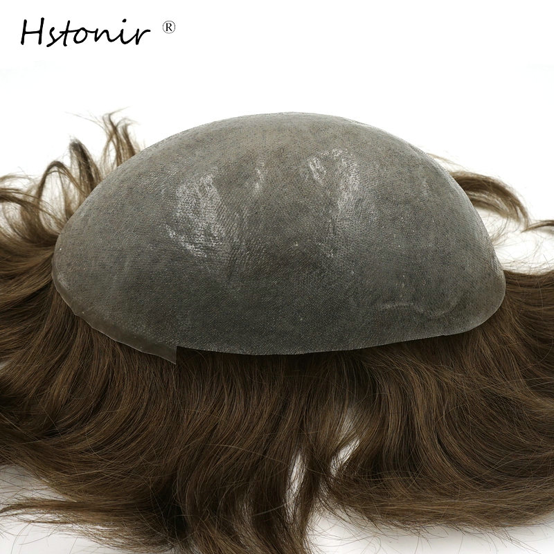 Hstonir Stock Men Toupee Indian Remy Hair Super Hair Piece Real Hair Replacement H078