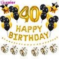 Воздушные шары из фольги, золотистые/черные шарики в форме цифр, 40 дней рождения, 38 шт., 32 дюйма, 40-летние вечерние ничные украшения для мужчин...