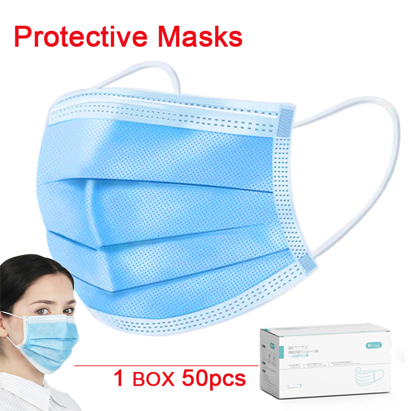 Mascherine Safety Protective Mask 3 Layer Non-woven Facial Protective Mask Maldehyde Prevent Bacteria Anti Droplet Face Masks