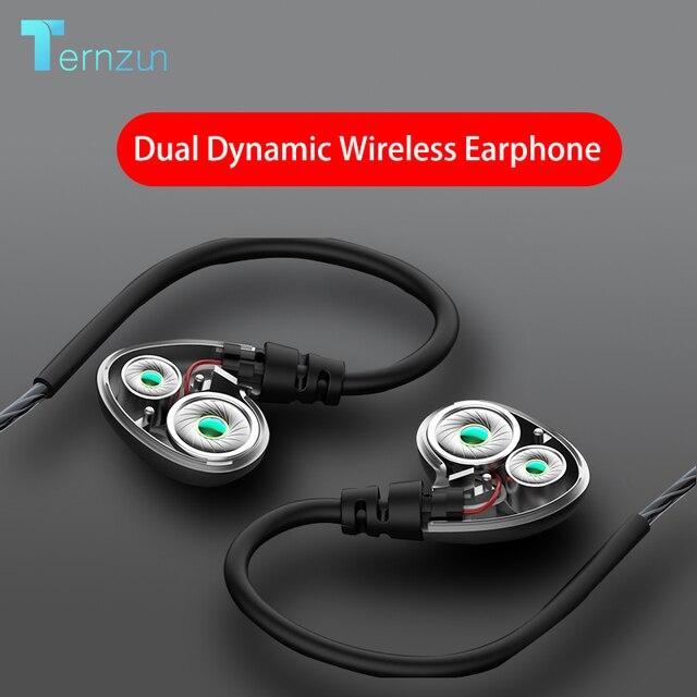 Беспроводные наушники вкладыши с двойным динамическим драйвером, спортивные наушники с большой громкостью, Водонепроницаемая Bluetooth гарнитура с поддержкой TF карты и микрофоном