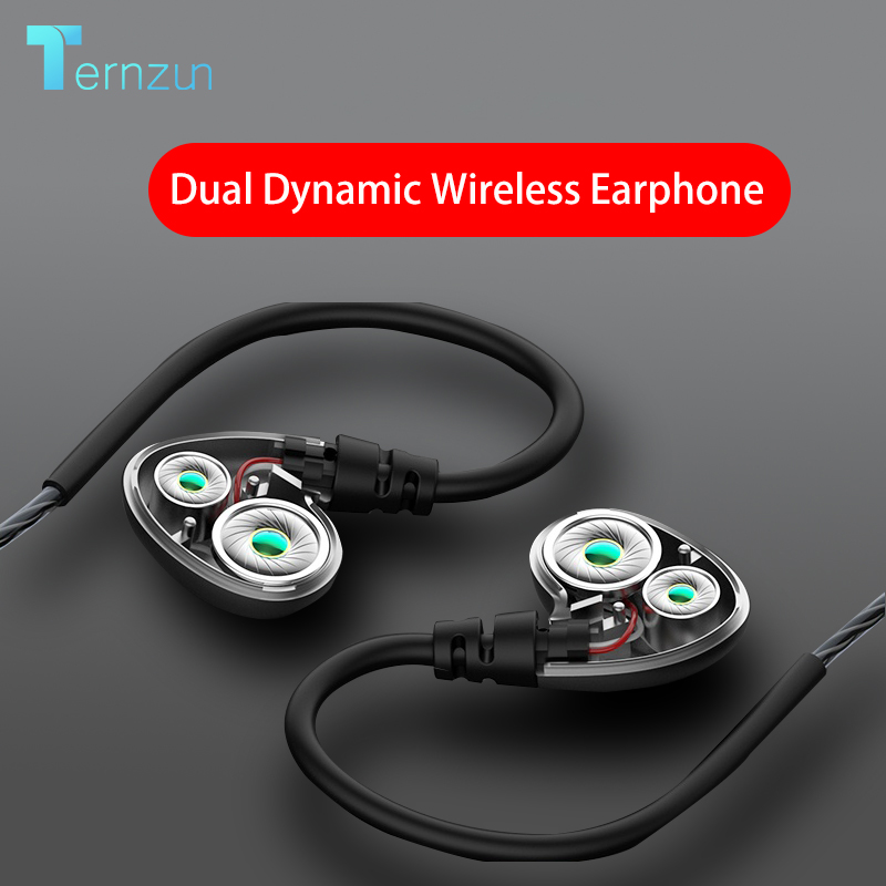 Dual Dynamic Driver Wireless Earphone In ear Sport Headphone Big Volume Waterproof Bluetooth Headset Support TF Card With MicBluetooth Earphones & Headphones   -