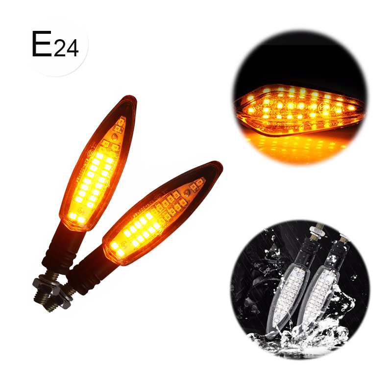 Maluokasa 2Pcs 12V 24LED Motorcycle Flowing Water Turn Signals E24 Dagger Shaped Motorbike LED Tail Stop Signal Indicators Light