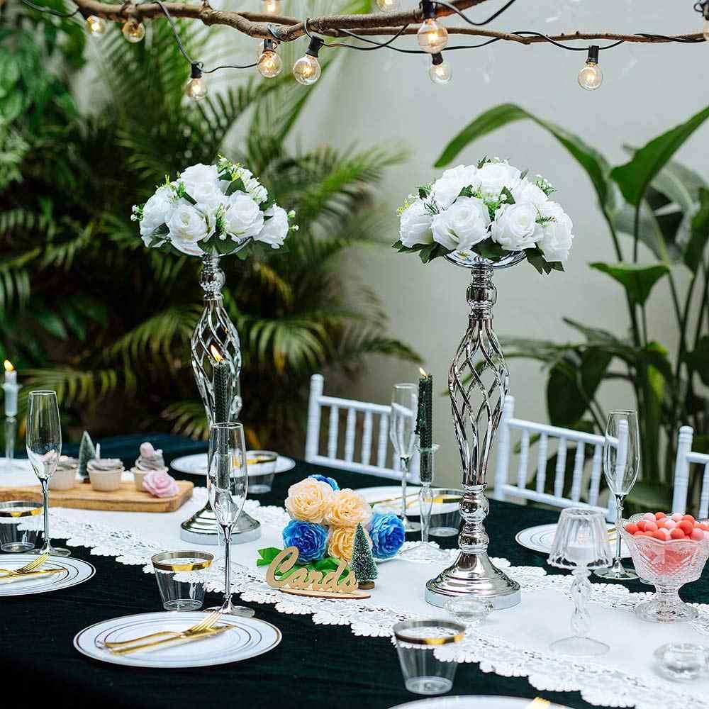 ERMAKOVA מתכת פרח סידור אגרטל מתלה נר בעל סוגר פמוט מרכזי חתונה מסיבת ארוחת ערב מלון קישוט