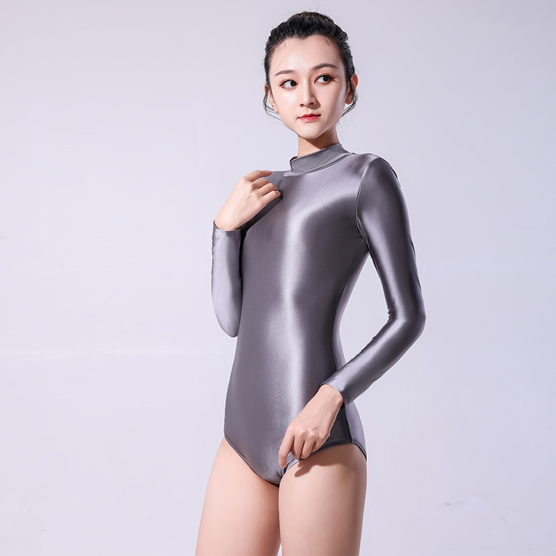 DROZENO 2020 new solid color long-sleeved tights High-cut sexy one piece swimsuit matte black Japanese style