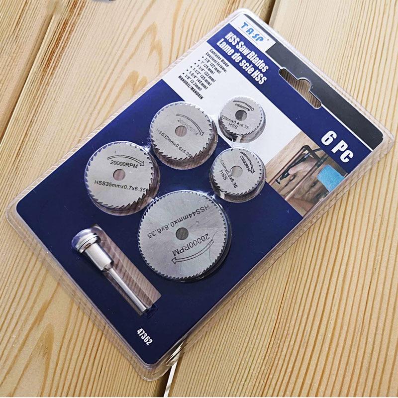 6pcs Mini Circular Saw Blade Set HSS Cutting Disc Rotary Tool Accessories For Wood Aluminium & Dremel Diyer Creative Hobbies