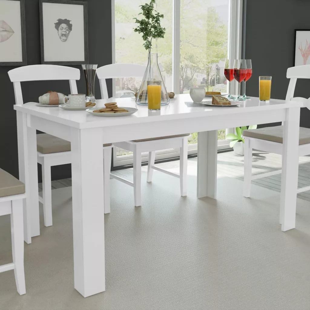 VidaXL High-Quality Dining Table 140x80x75 Cm White Elegant Design Stable Durable Contemporary Dining Table Easy To Clean V3