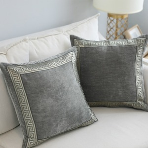 Nordic classic embroidery sample room pillow grey embroidery pillow velvet household soft fitting model room cushion