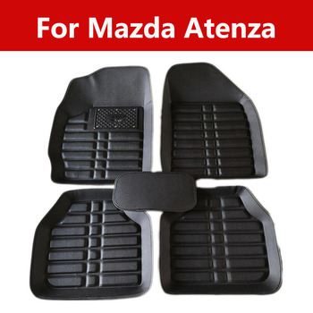 Car Leather Floor Foot Mats 3d Covered Carpet Stickers For Mazda Atenza All Weather Floor Mats image