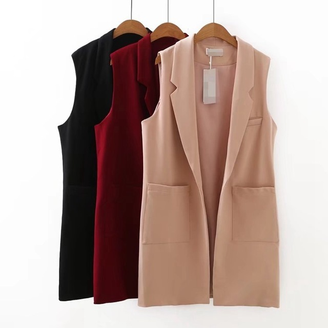 For Women Sleeveless Coat Jacket Long Vest Formal Work Ladies Office Wear Casual Fashion Slim Waistcoat Female Plus Size