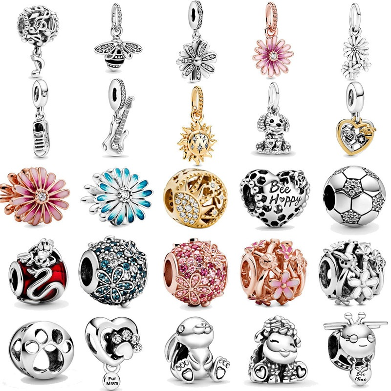 2020 Spring New Sparkling Daisy Flower Rabbit Charms 925 Sterling Silver Beads Fit Original Pandora Bracelets Women DIY Jewelry