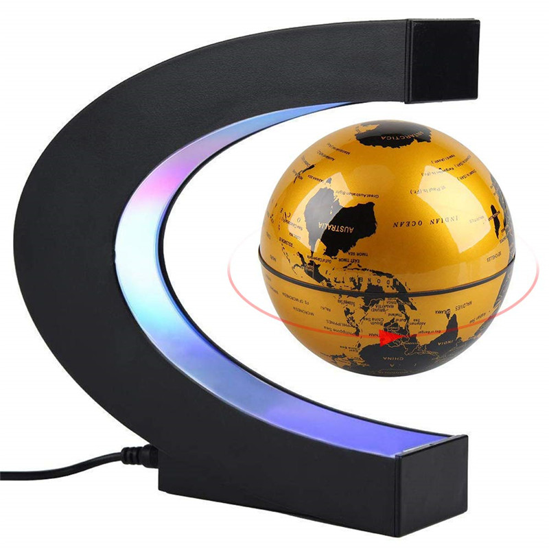 Magnetic Levitation Floating World Map Globe Rotating Suspended In Air With LED Lights For Learning Teaching Demo Office Desk