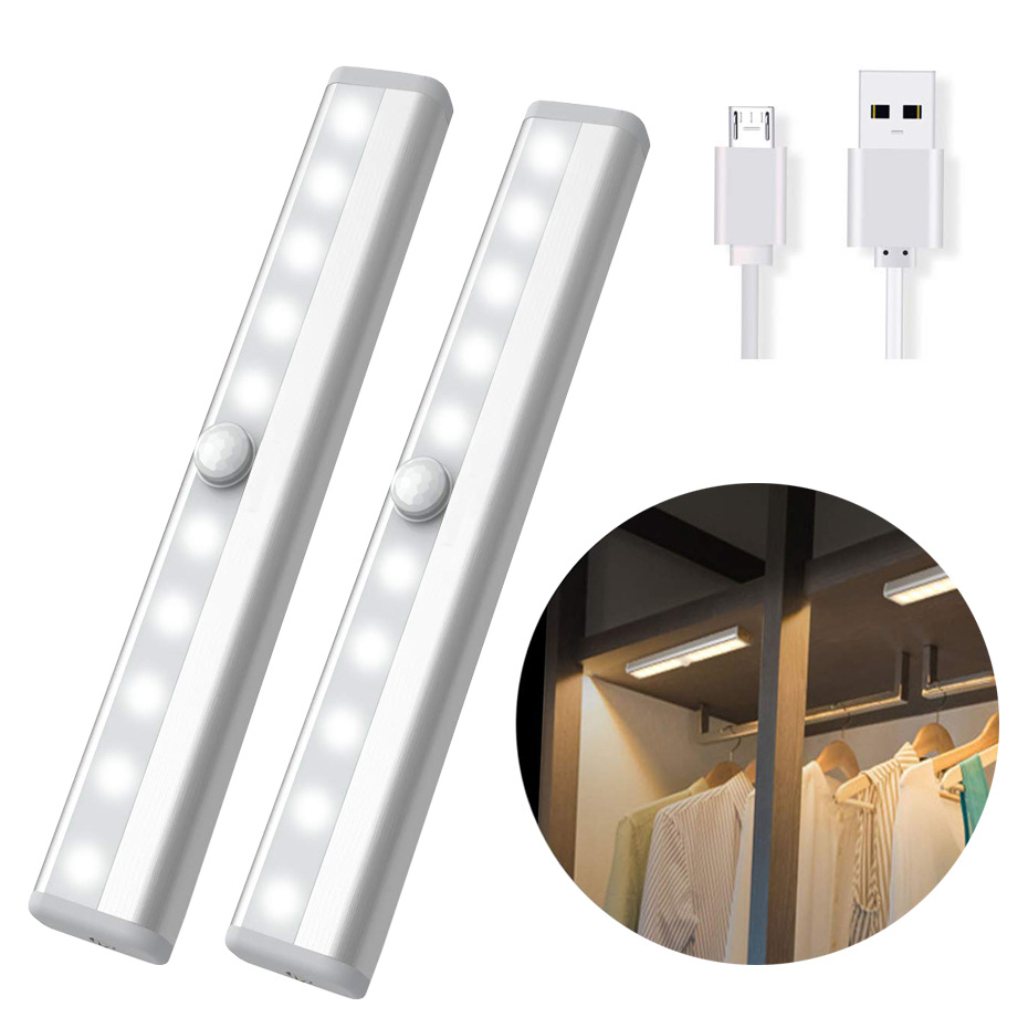 10LED Night Light IR Infrared Motion Sensor Detector Led Night Lamp Sensor USB Rechargeable/Battery Closet Wardrobe Cabinet Lamp