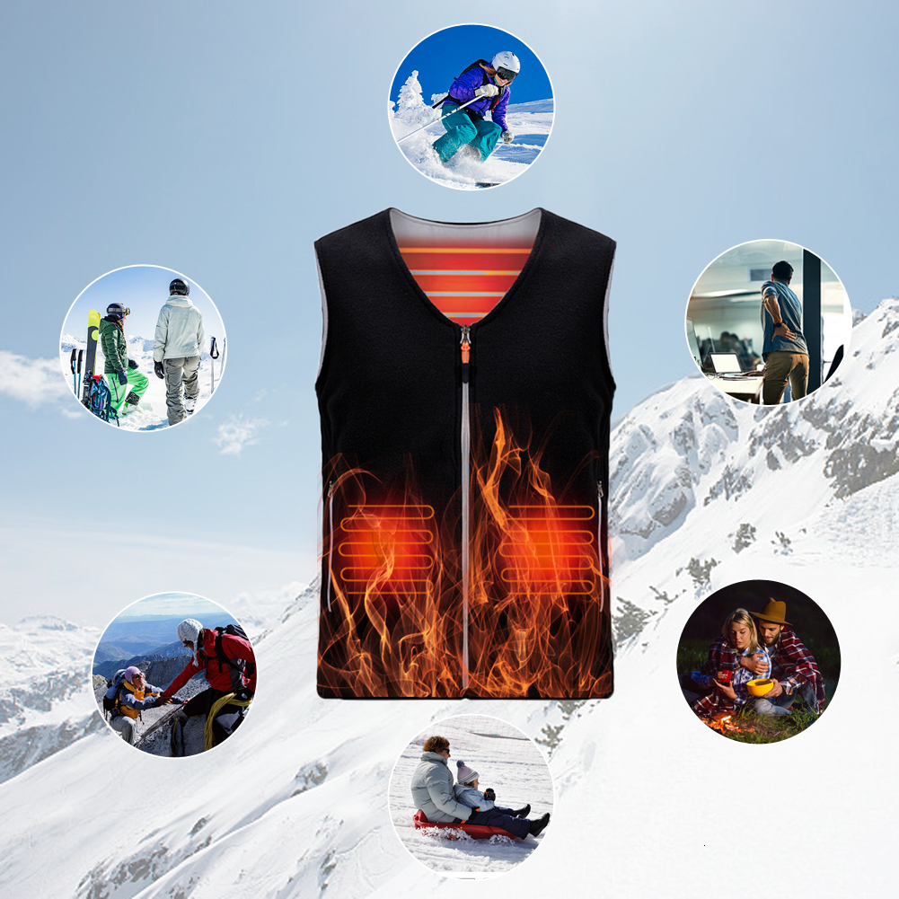 Heated Vest Jacket Coat USB Rechargeable Heat Cloth For Women/men Washable Electric Body Warmer In Cold Winter For Outdoor Sport