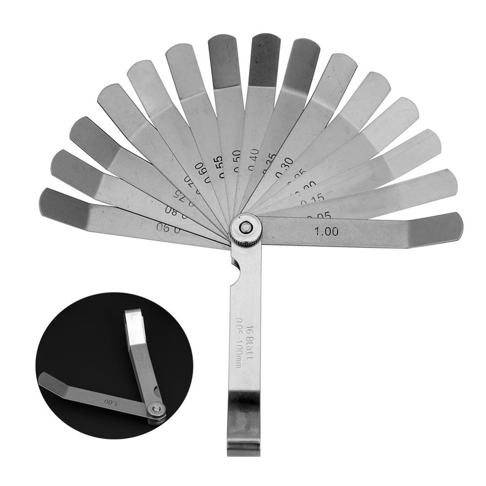 100mm Metric 0.05- 1.0mm Valve Offset Feeler Gauge 16 Blades Stainless Steel Feeler Gauge for Spark Plug Gap Valve Tappets