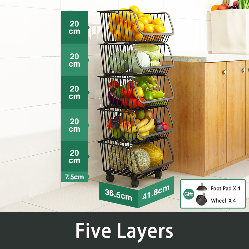 3/4/5 Layers Organizer Cart with Moving Flexible Wheels Bathroom Bedroom Kitchen Hiogh Quality Stainless Steel Kitchen Shelves