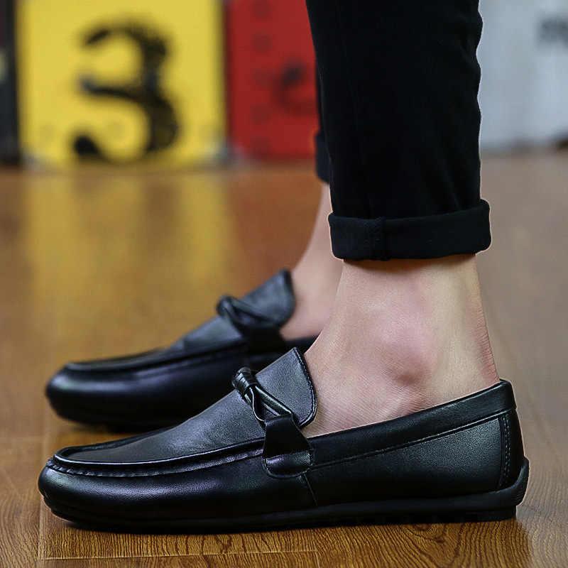 Легкая мужская обувь Повседневная дышащая кожаная обувь без шнуровки на