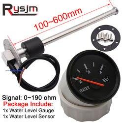 HD 52mm Water Level Gauge + Water Level Sensor 100mm 125mm 150mm 225mm 0-190 ohm Sensors Fuel Sender Unit For Car Boat 12V/24V
