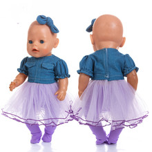 цена Reborn Doll Clothes Fit 18 inch 43cm Baby New Born American Purple Top Jeans Shirt Girl Suit For Baby Birthday Gift онлайн в 2017 году