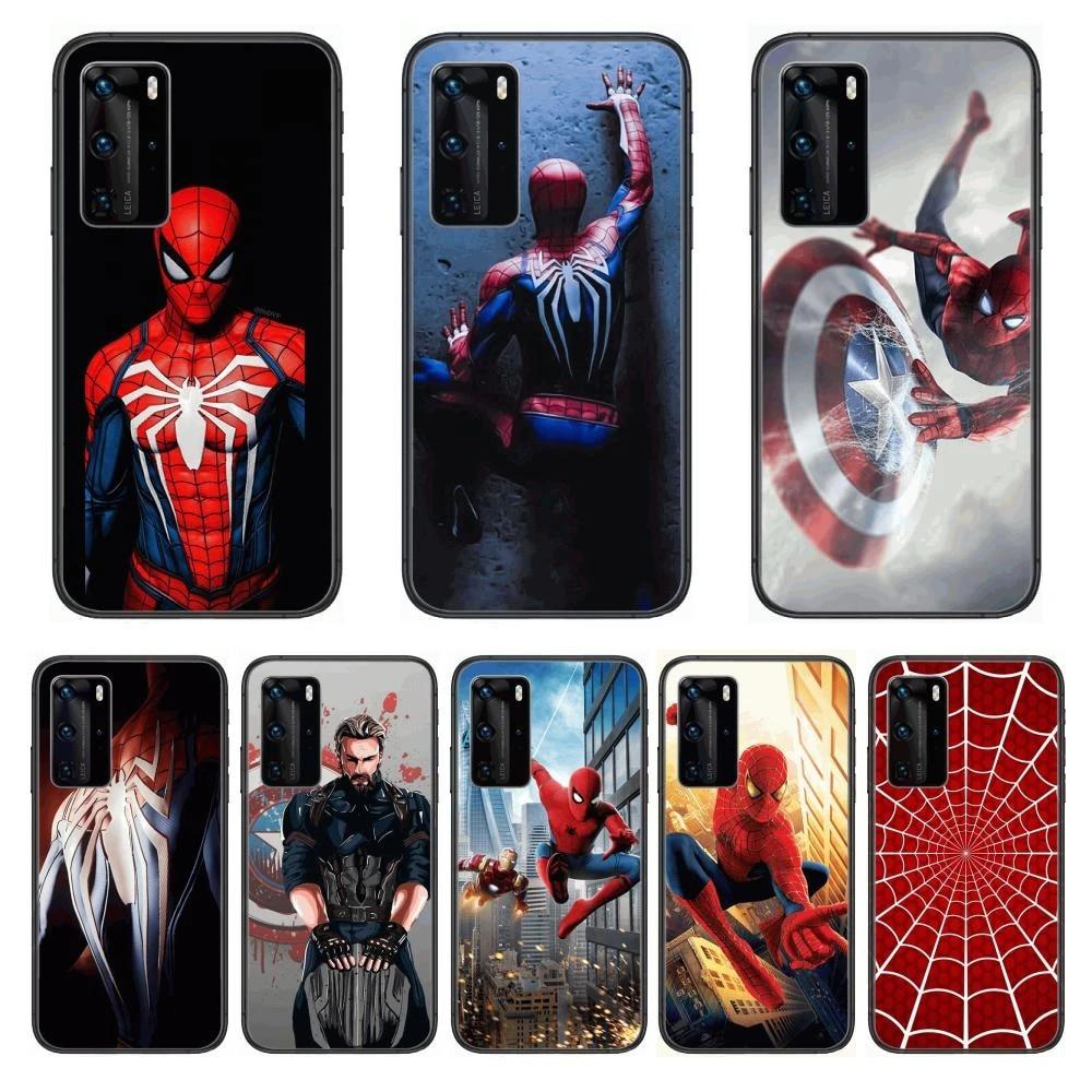 Spider-Man Phone Case For Huawei P 40 30 20 10 9 8 Lite E Pro Plus Black Etui Coque Painting Hoesjes comic fashion