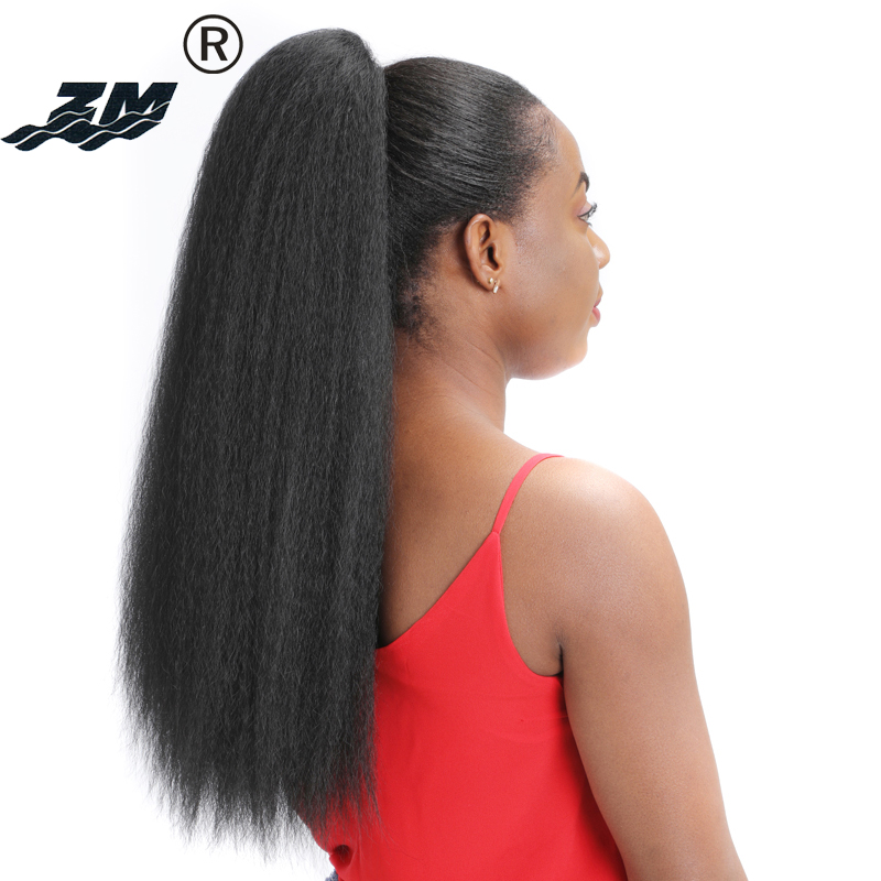 ZM Hairpieces Long Afro Kinky Straight Ponytail Clip In Synthetic Yaki Drawstring Pony Tail Hair Extensions For Women Fake Hair