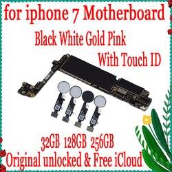 Для iphone 7 4,7 дюймов материнская плата разблокированная материнская плата с сенсорным ID/NO Touch ID, 100% оригинал для iphone 7 логическая плата хорошо п...