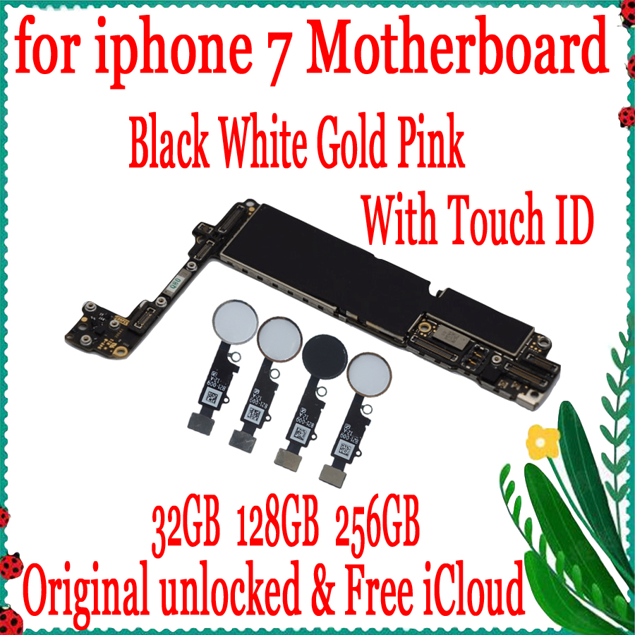 For iphone 7 4.7inch Motherboard unlocked Mainboard With Touch ID/NO Touch ID,100% Original for iphone 7 Logic board Good Tested