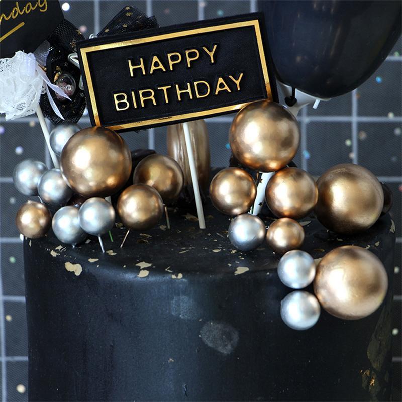 20PCS Birthday Party Golden Ball Cake Decoration Cake Topper Creative Fruit Dessert Decor Insert Card For Birthday Party