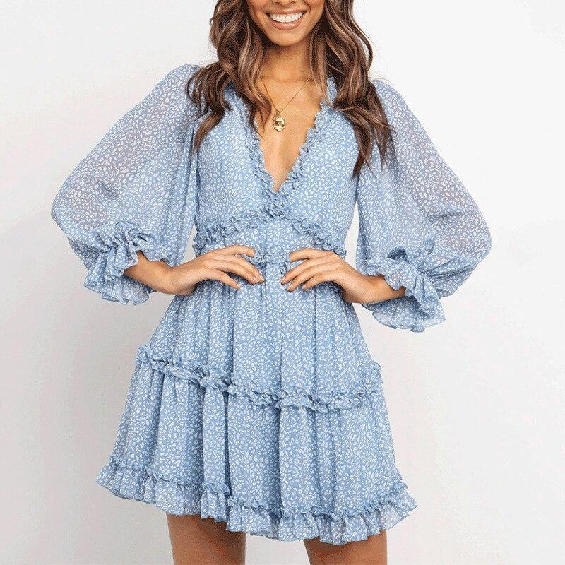 Eytino Women Sexy V Neck Long Sleeve Open Back Printed Mini Short Dresses 4