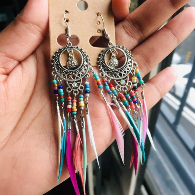 זהב כסף בציר אתני קשת צבעים נוצה להתנדנד Drop עגילים לנשים נקבה 2018 חתונה תכשיטי אבזרים