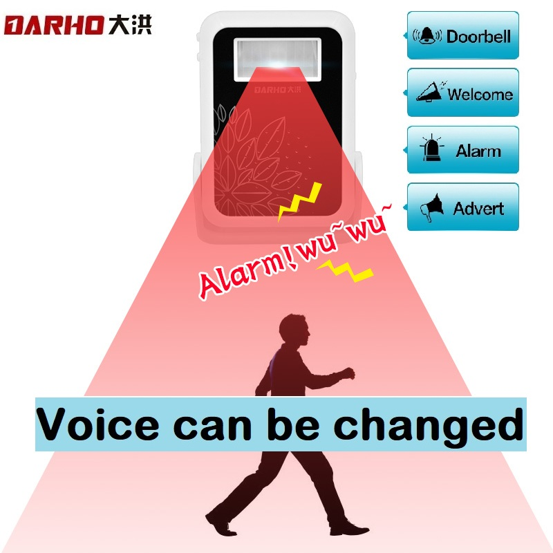 Darho Welcome Store Store Store Home Home Welcome Chime Door Bell Security Alarm Chime Wireless Infrared Monitor Monitor Sensor IR