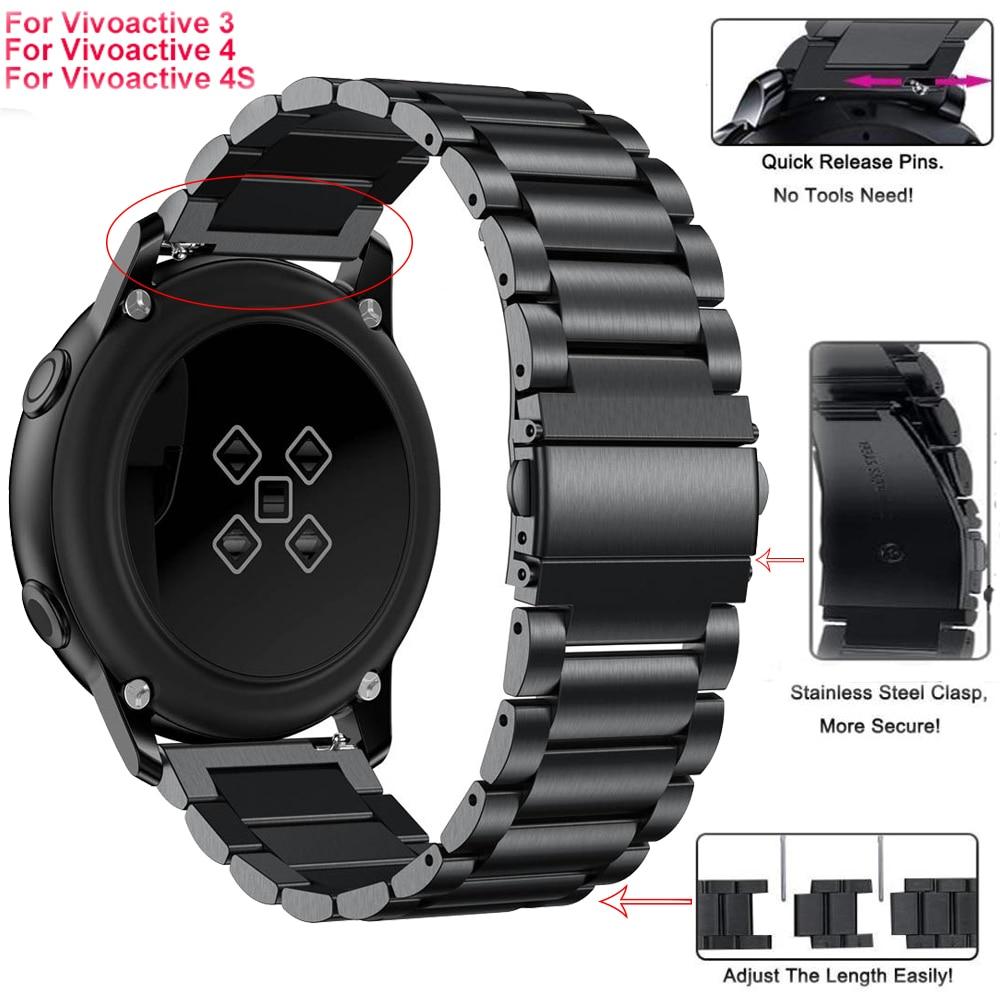 Stainless Steel Replacement Strap For Garmin Vivoactive3 Vivomove 4 Smart Wristband For Garmin Vivoactive 4S Watch Band 18 20 22