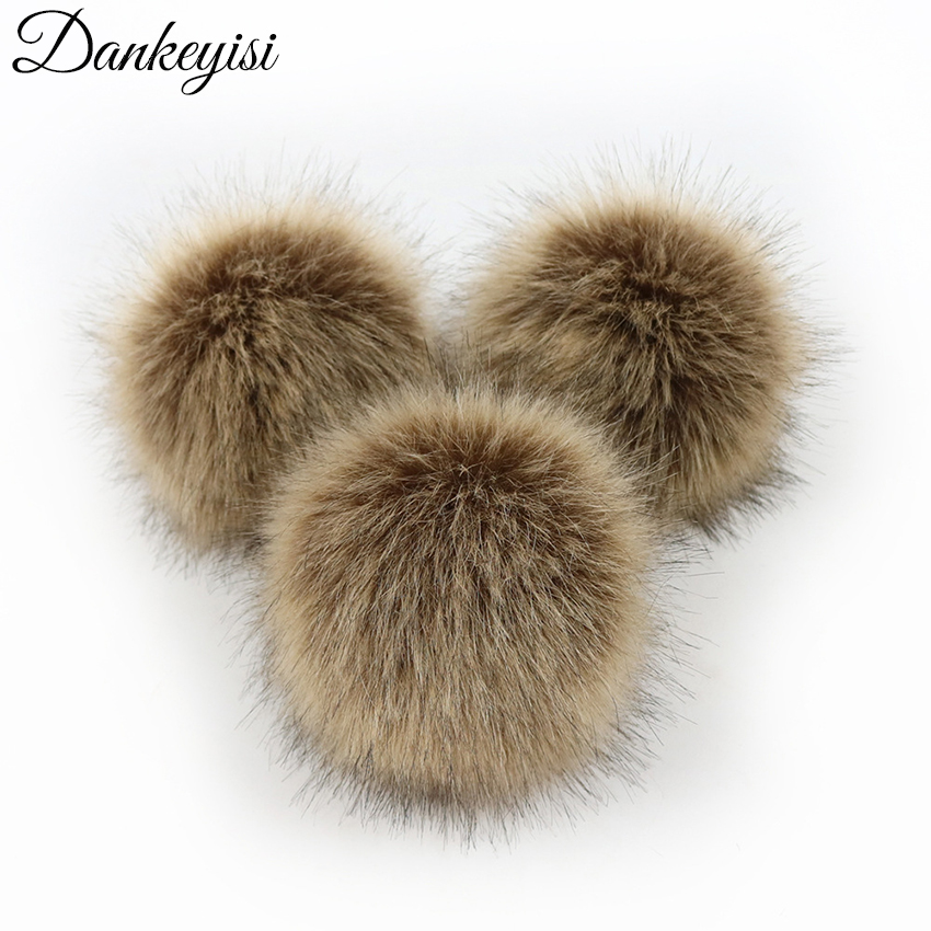 DANKEYISI DIY Faux Fox Fur Fluffy Pompom Ball For Hats Shoes Scarves Bags DIY Craft Fake Fur Pompom With Buckle Multicolor