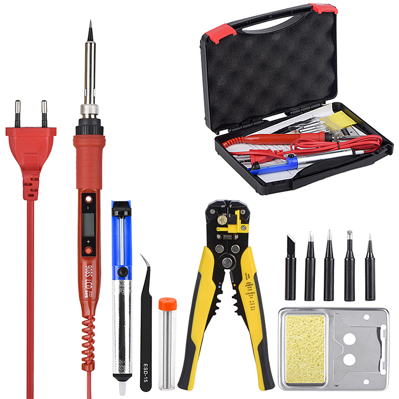 JCD Soldering iron kit with Wire Stripper 220V 80W LCD solder welding tools Ceramic heater Multifunctional wire cutters Pliers