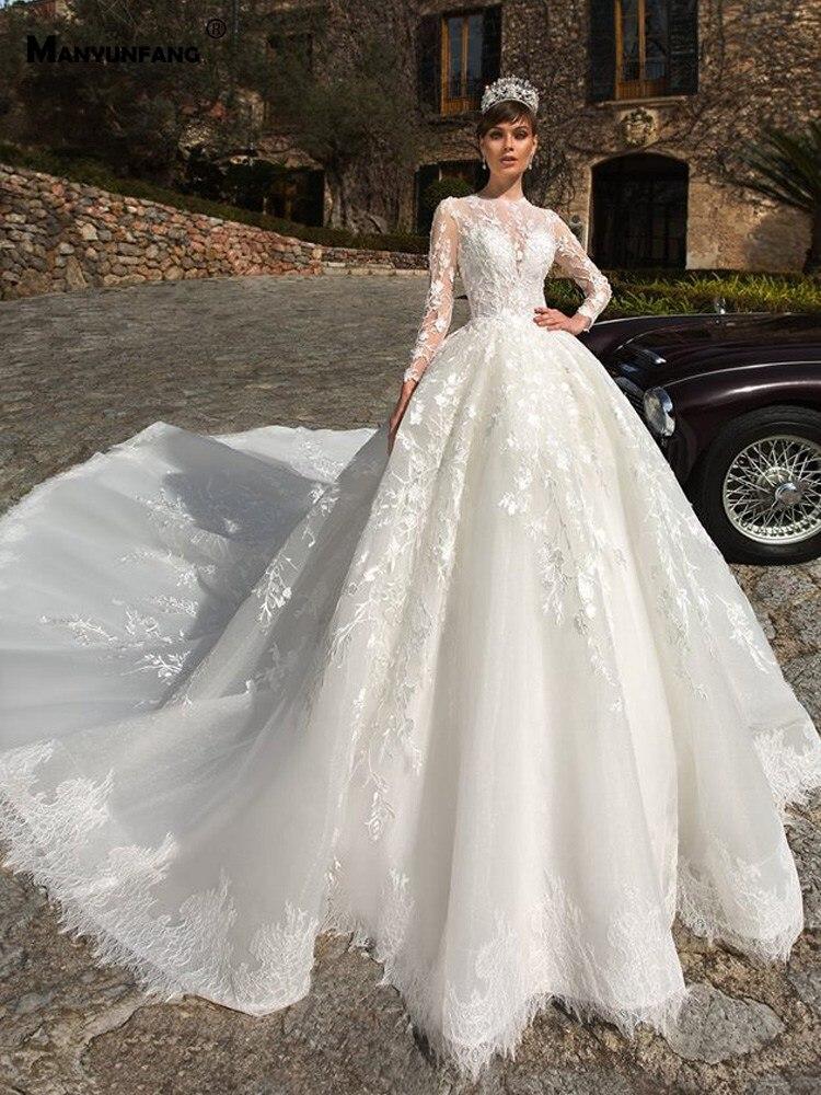 MANYUNFANG High Neck Wedding Dress Long Sleeve Vestidos De Novia Bottom Lace Robe Mariage Hot Sale Abendkleider 2020 Bride Dress