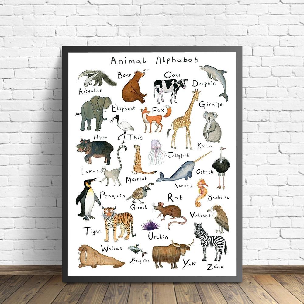 Алфавит, животные, холст, плакаты, образовательные принты для детской комнаты, художественная живопись, скандинавские настенные картины для детской комнаты, домашний декор