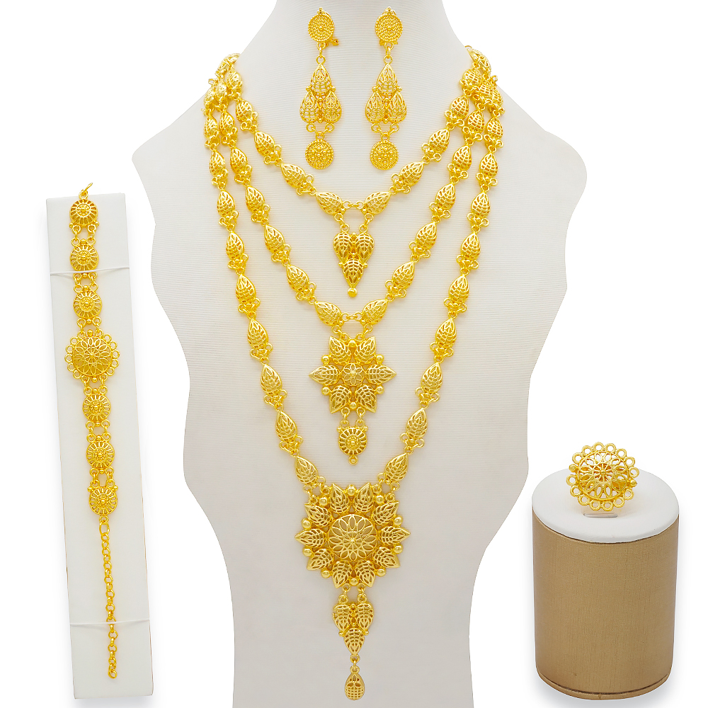 Dubai Jewelry Sets Gold Necklace & Earring Set For Women African France Wedding Party 24K Jewelery Ethiopia Bridal Gifts 2