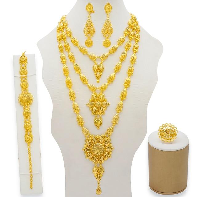 Dubai conjuntos de jóias colar de ouro & brinco conjunto para as mulheres africano frança festa de casamento 24k jóias etiópia presentes de noiva 2