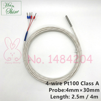 PT100 Grade A Temperature Sensor 4mm * 30mm Waterproof Thermal Detector Shielded PTFE 4 Wire 2.5m 4m High Accuracy
