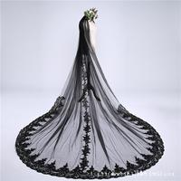 3 Meters Widened With Long Train Black Luxury Wedding Accessories Vintage Soft Tulle Lace Edge Cathedral Veil Photography Veil