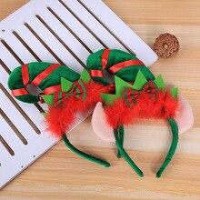 Креативная Рождественская повязка на голову, шляпа эльфа, бант, лента для волос, Красная шапка с перьями, Рождественское украшение, косплей, вечерние, шоу, обруч для волос Navidad