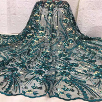 2019 New Design Green Sequins African French Velvet Lace Fabric High Quality Nigerian Velvet Lace Fabric For Garment