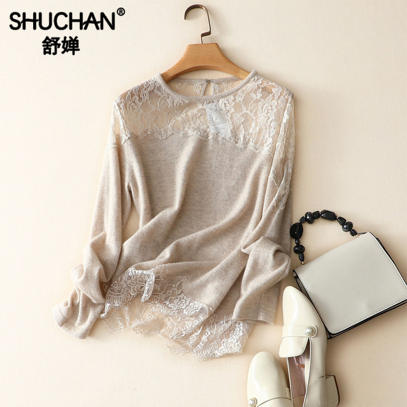 Shuchan 2019 Fall Thin Women's Cashmere Sweater Patchwork Lace O-Neck Sexy & Club Pullovers Warm Womens Sweaters Winter